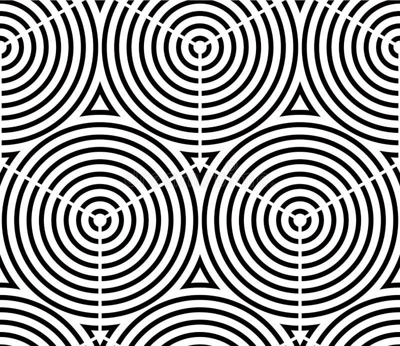 Sömlös optisk dekorativ modell med tredimensionell geome stock illustrationer