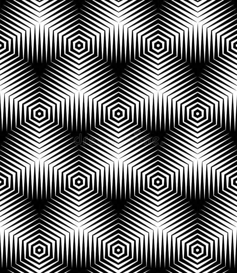 Sömlös optisk dekorativ modell, tredimensionellt geometriskt royaltyfri illustrationer