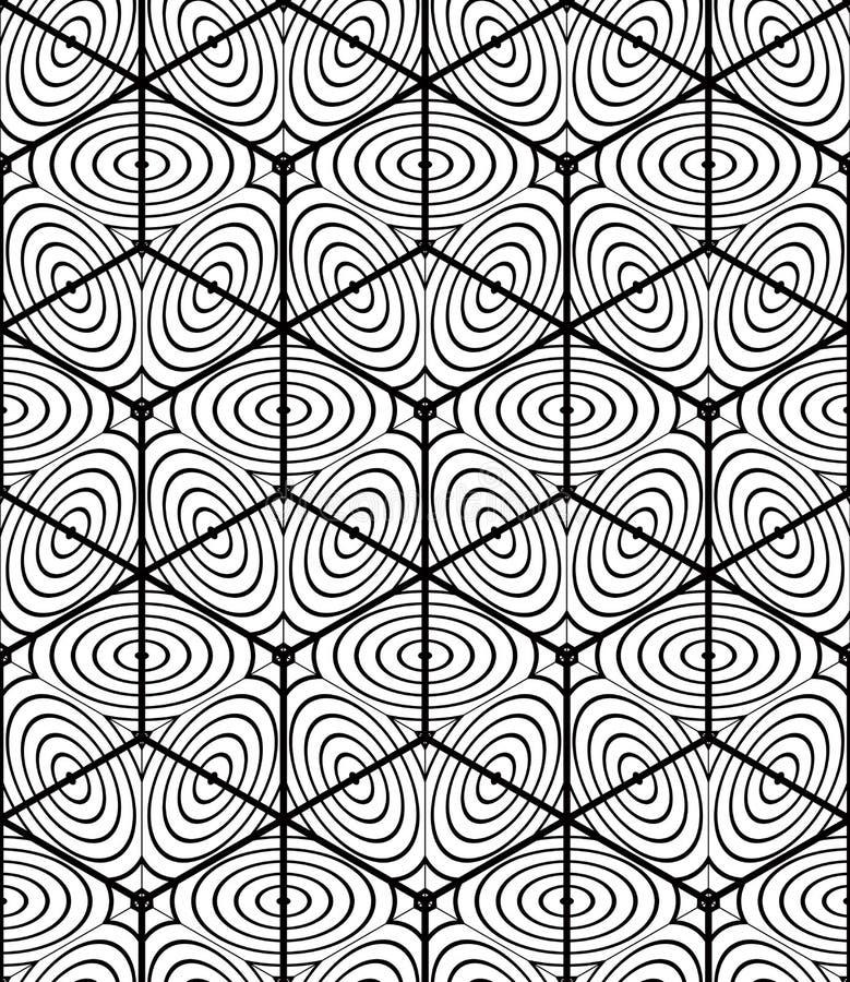 Sömlös optisk dekorativ modell, tredimensionellt geometriskt vektor illustrationer