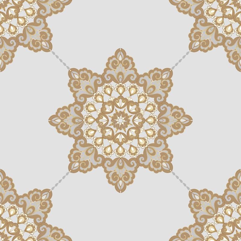 Sömlös orientalisk modell i stilen av barock Traditionell klassisk vektorprydnad Dekorativ prydnadbakgrund för royaltyfri illustrationer