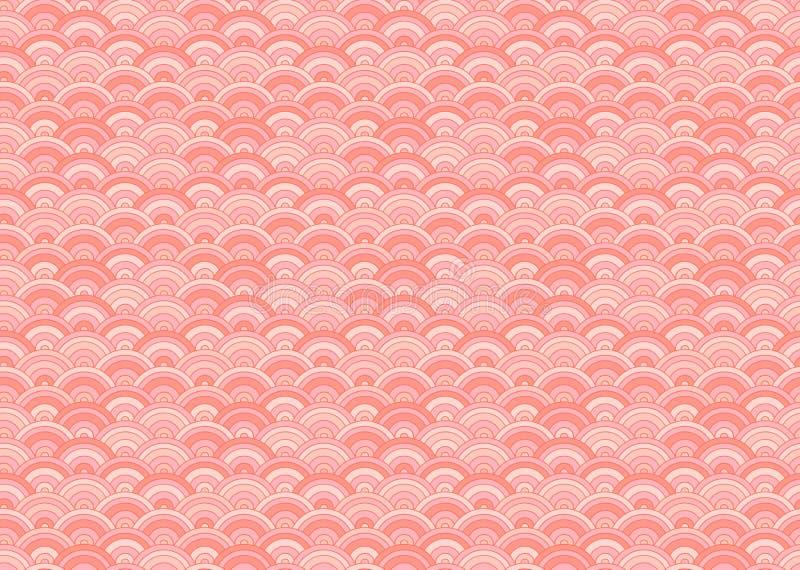 Sömlös Orietal för vektor som modell bor Coral Color Trend av det 2019 året stock illustrationer