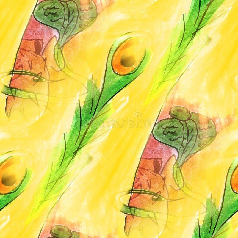 Sömlös orm, kobra, guling, wal klarteckenvattenfärgkonstnär stock illustrationer