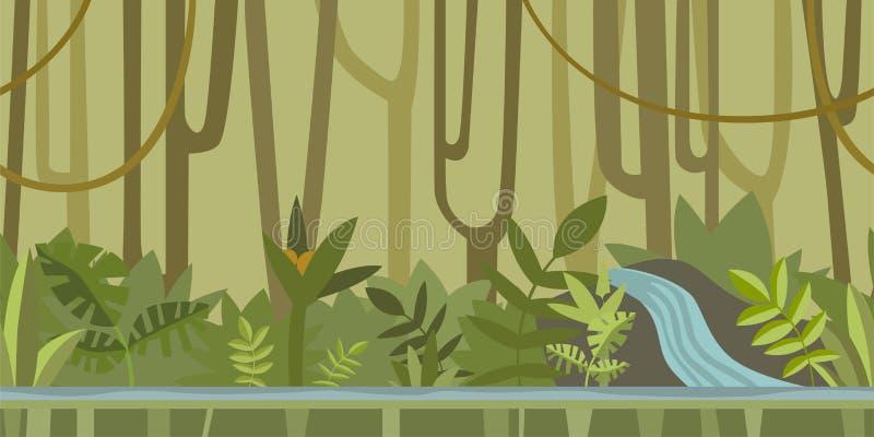 Sömlös oupphörlig bakgrund för lek eller animering Den undervattens- världen med vaggar, havsväxt och korall också vektor för cor stock illustrationer