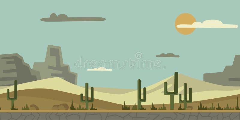 Sömlös oupphörlig bakgrund för lek eller animering Desertera landskapet med kaktuns, stenar och berg i bakgrunden royaltyfri illustrationer