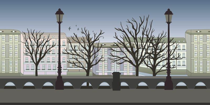 Sömlös oupphörlig bakgrund för lek eller animering Europeisk stadsgata med byggnader, träd och lyktstolpar vektor stock illustrationer