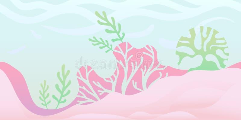 Sömlös oupphörlig bakgrund för lek eller animering Undervattens- värld med havsväxt och korall också vektor för coreldrawillustra stock illustrationer