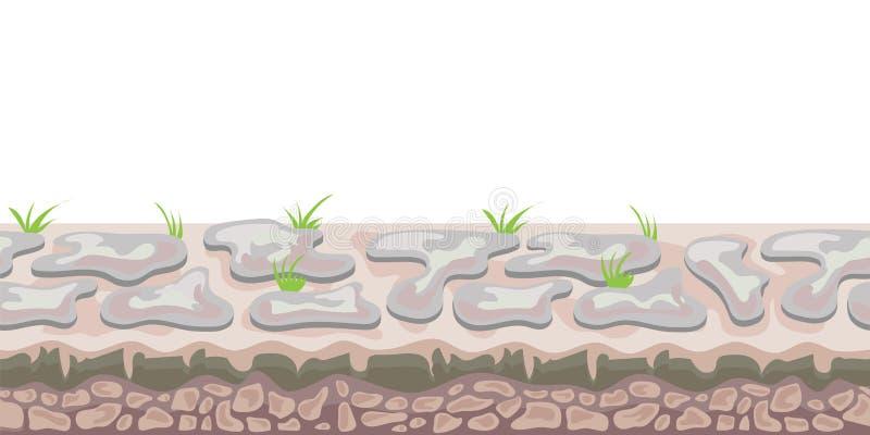 Sömlös oupphörlig landskapbakgrund för gallerilek eller animering stenig jordning Vektorillustration som isoleras på stock illustrationer