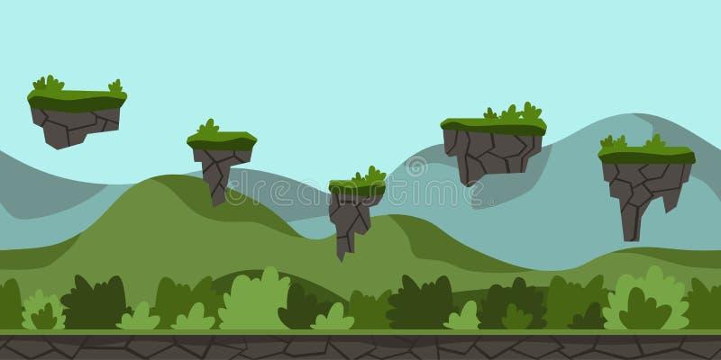 Sömlös oupphörlig tecknad filmbakgrund för gallerilek Grönt bergigt landskap med buskar och flygöar vektor stock illustrationer
