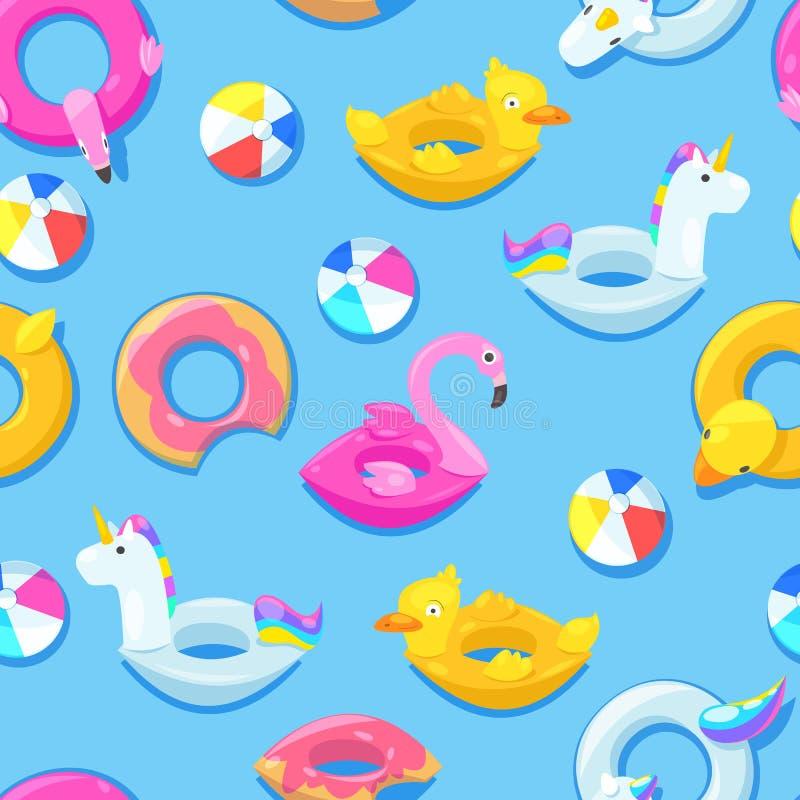 Sömlös pölmodell Enhörning flamingo, and, boll, gulliga flöten för munk i blått vatten också vektor för coreldrawillustration royaltyfri illustrationer