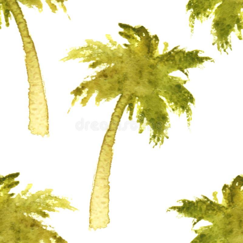 Sömlös palmträd stock illustrationer