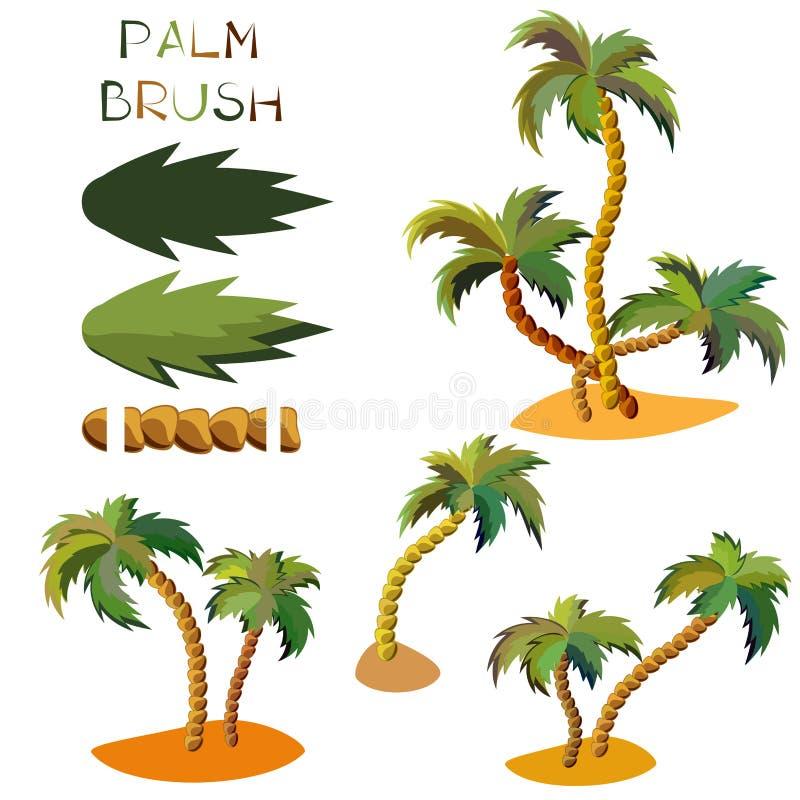 Sömlös palmträdborste för vektor stock illustrationer