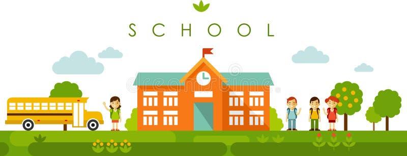Sömlös panorama- bakgrund med skolabyggnad i plan stil stock illustrationer