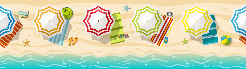 Sömlös panorama för strandsemesterort royaltyfri illustrationer