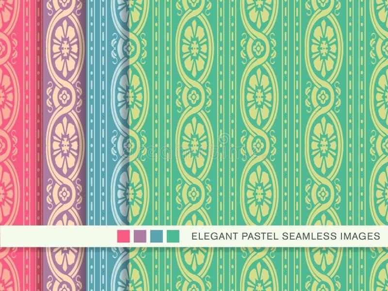 Sömlös pastellfärgad blomma V för ram för spiral för kors för bakgrundsuppsättningkurva stock illustrationer