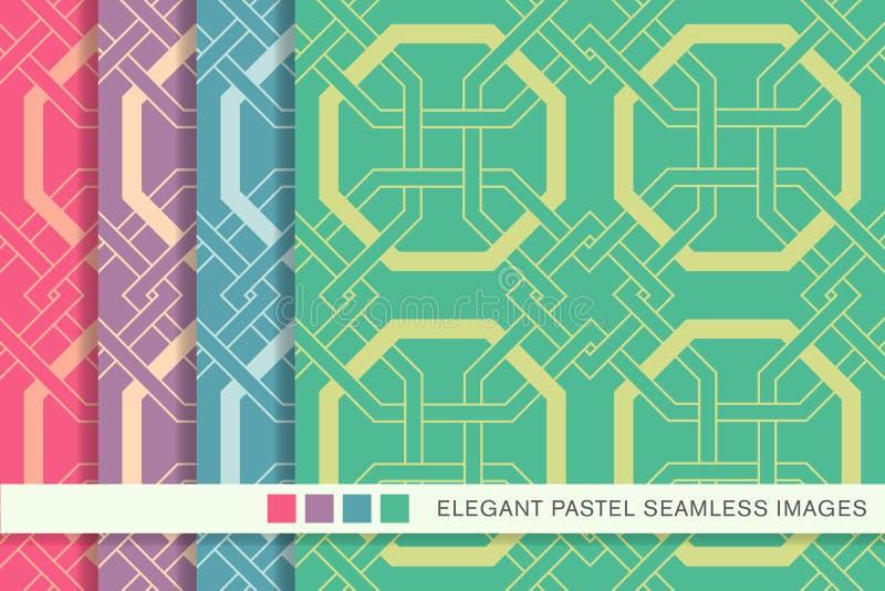 Sömlös pastellfärgad geometri för kors för ram för bakgrundsuppsättningoktogon royaltyfri illustrationer