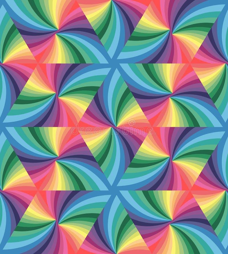 Sömlös pastellfärgad kulör krabb triangelmodell geometrisk abstrakt bakgrund stock illustrationer