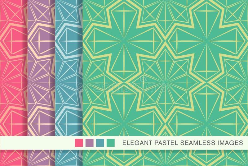 Sömlös pastellfärgad linje för geometri för polygon för bakgrundsuppsättningstjärna stock illustrationer