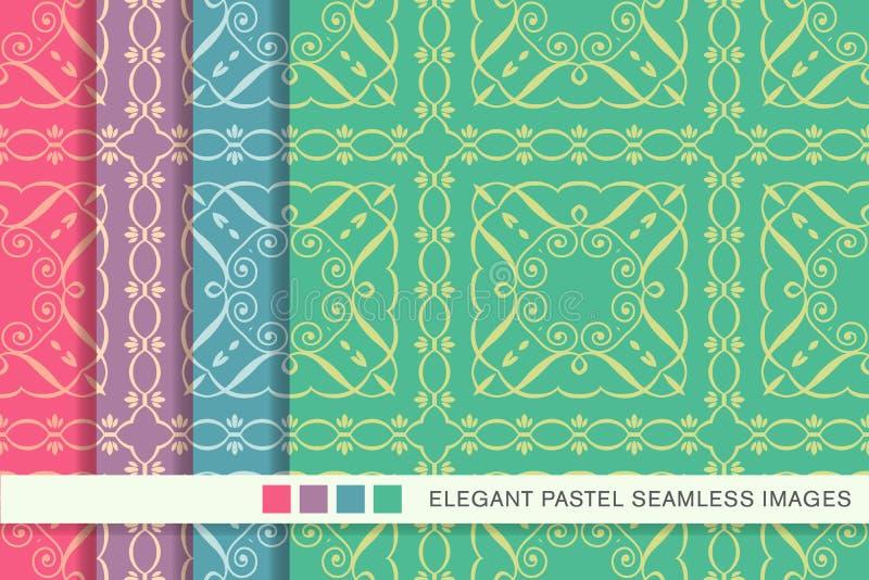 Sömlös pastellfärgad ram V för kors för fyrkant för spiral för bakgrundsuppsättningkurva vektor illustrationer