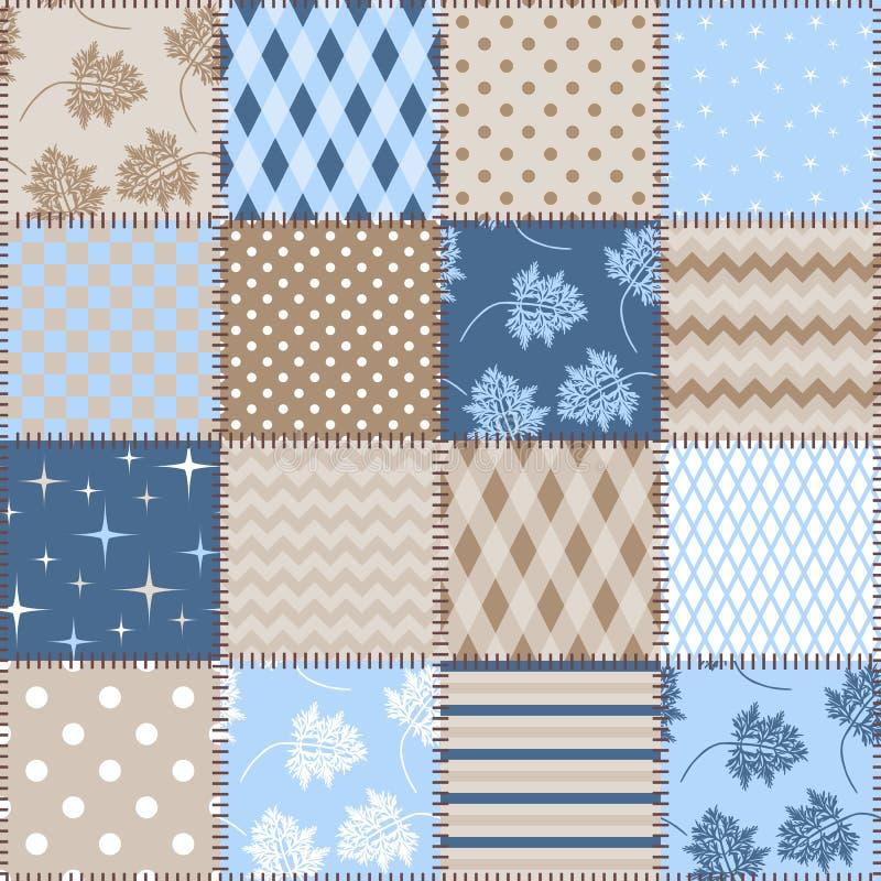 Sömlös patchworkbakgrund med olika modeller i blåa och bruna färger Design för tyg stock illustrationer