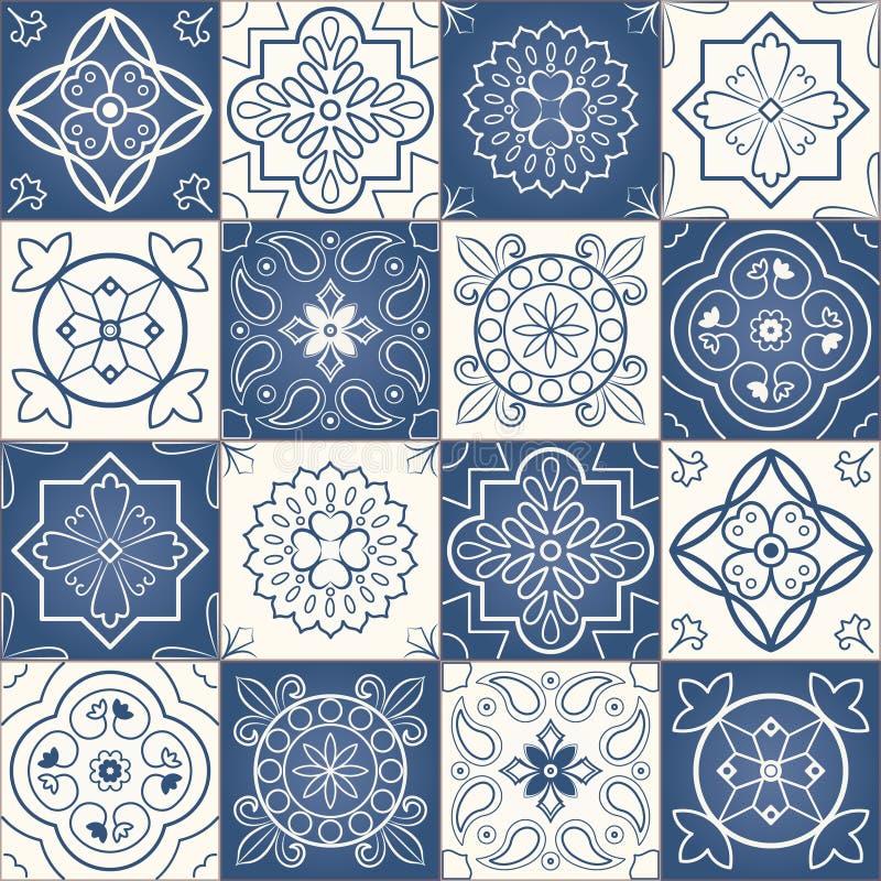 Sömlös patchworkmodell vektor illustrationer