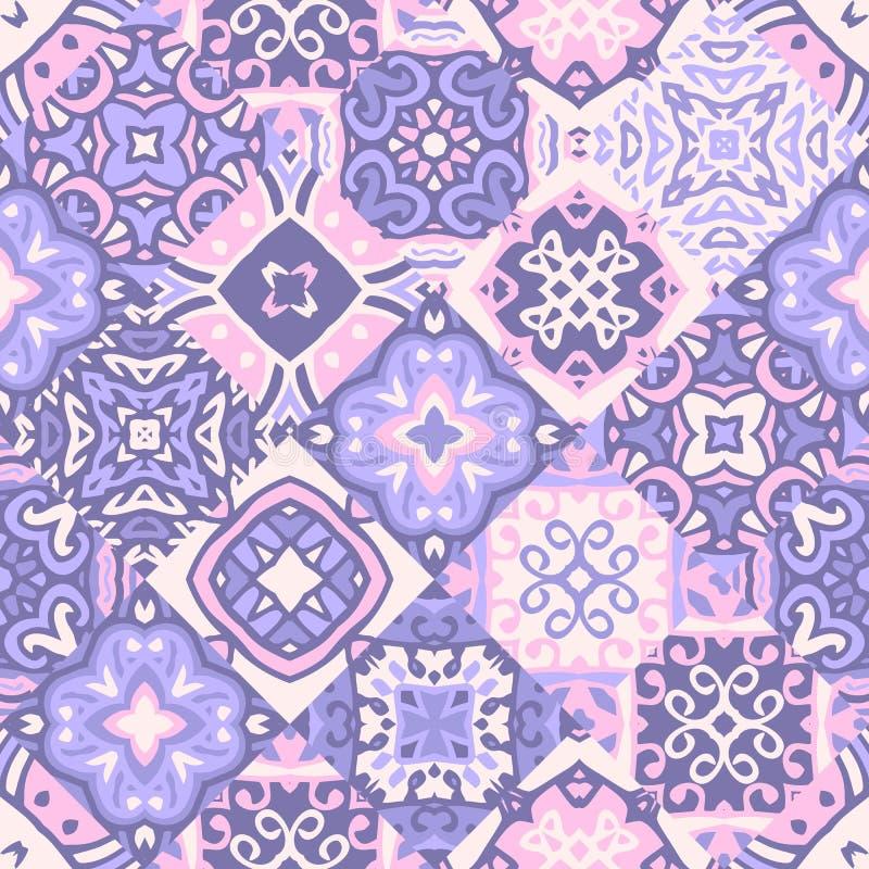Sömlös patchworkmodell för tappning Keramiska tegelplattor med den dekorativa prydnaden royaltyfri illustrationer