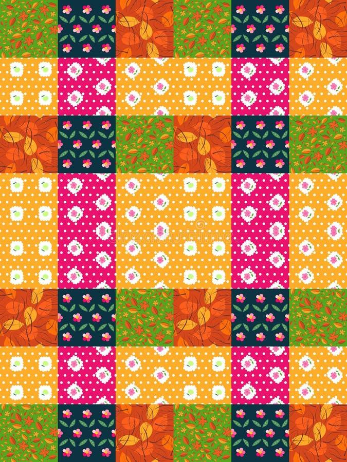 Sömlös patchworkmodell från ljusa färgrika lappar med sidor och blommor royaltyfri illustrationer