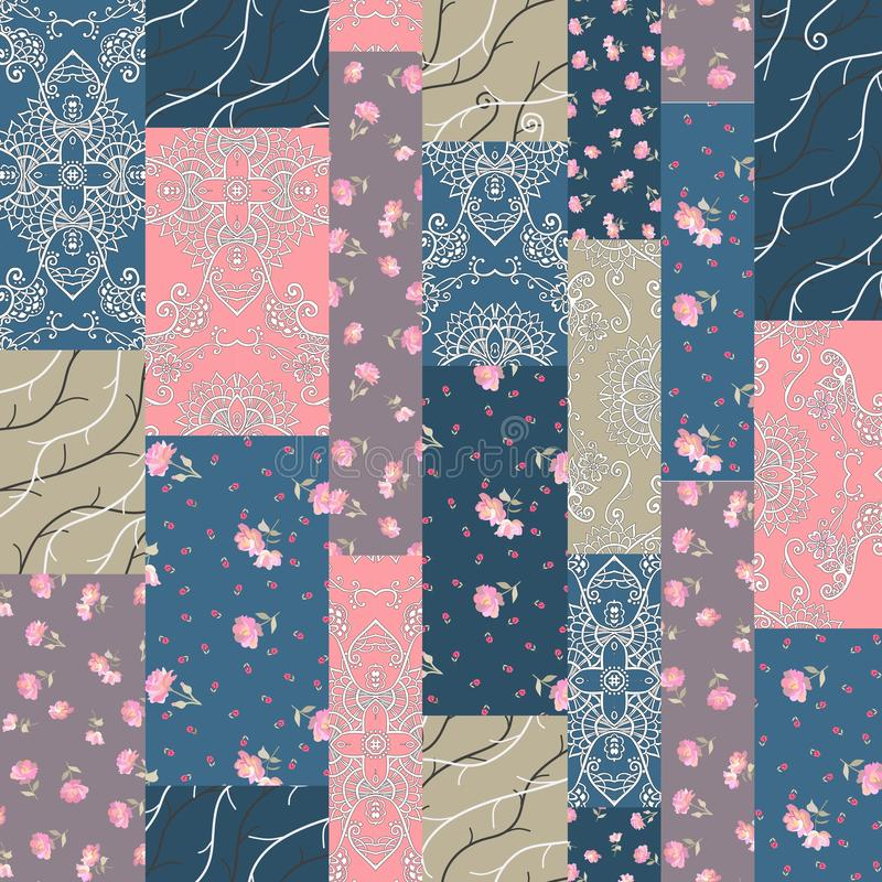 Sömlös patchworkmodell från olika lappar med rosa blommor, filialer och prickprydnaden stock illustrationer