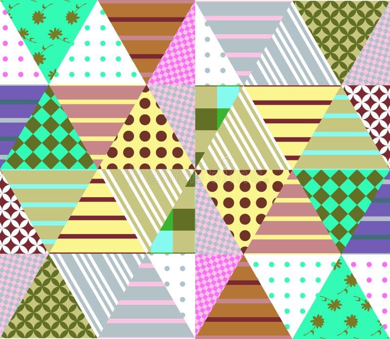 Sömlös patchworkmodell Geometrisk etnisk prydnad vektor illustrationer
