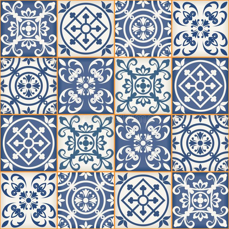 Sömlös patchworkmodell, marockanska tegelplattor vektor illustrationer