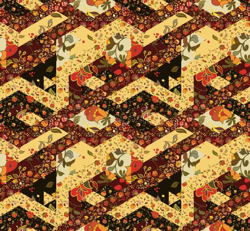 Sömlös patchworkmodell med blommor Tappning stock illustrationer