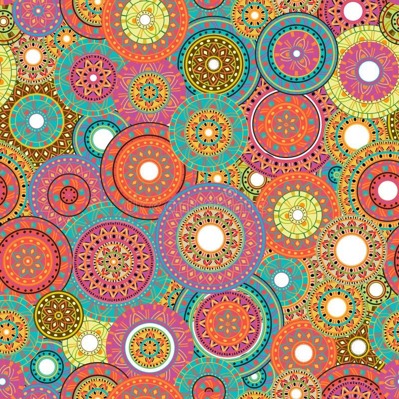 Sömlös patchworkmodell med cirklar med den stam- geometriska prydnaden designperson som tillhör en etnisk minoritet stock illustrationer