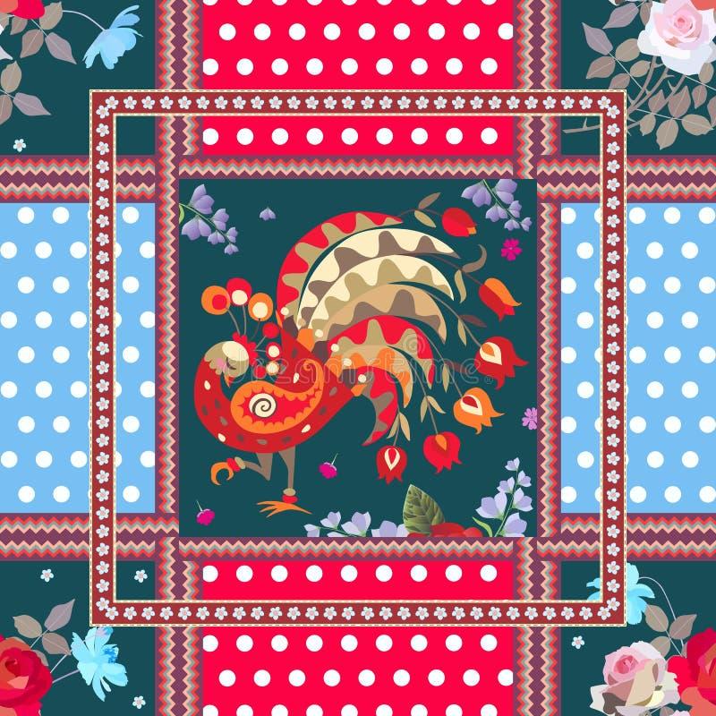 Sömlös patchworkmodell med den felika påfågeln, buketter av rosor och kosmosblommor, prickbakgrund och dekorativa ramar vektor illustrationer