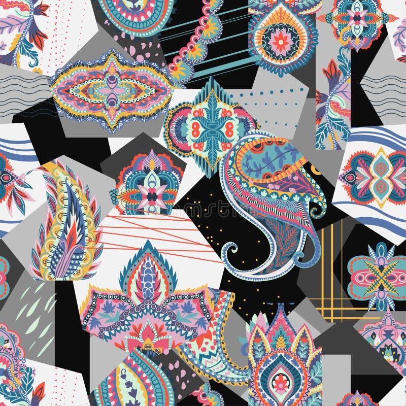 Sömlös patchworkmodell med paisley och geometriska beståndsdelar stock illustrationer