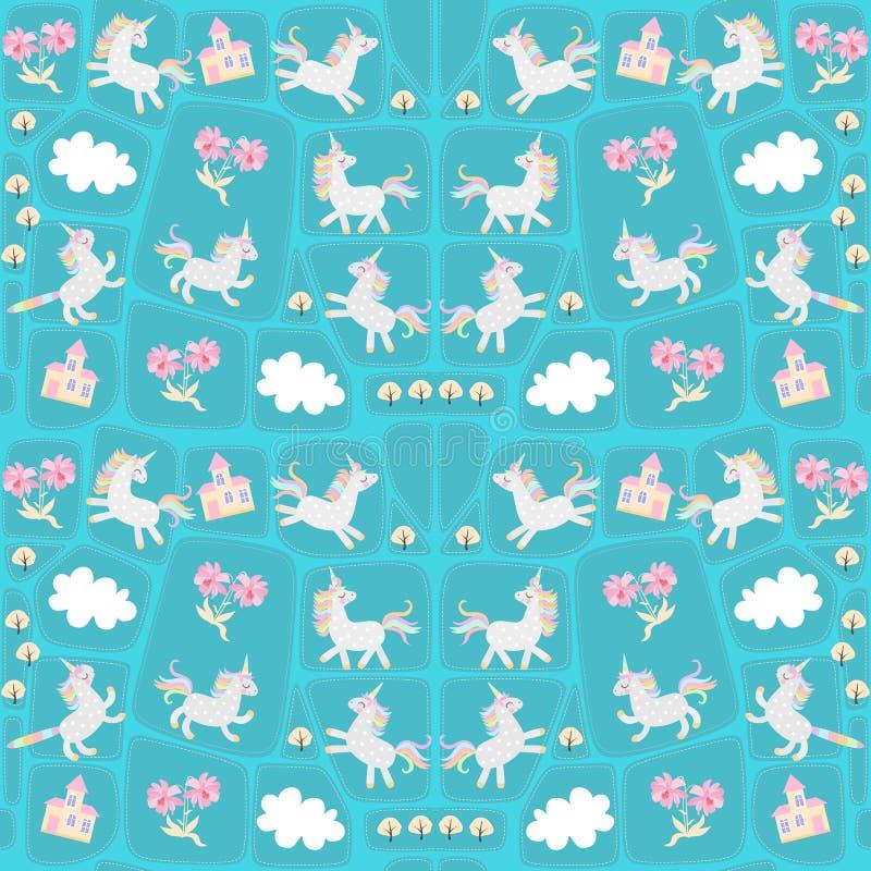 Sömlös patchworkmodell med roliga enhörningar och caticorns, vita moln, försiktiga rosa blommor, höstträd och sagaslott vektor illustrationer