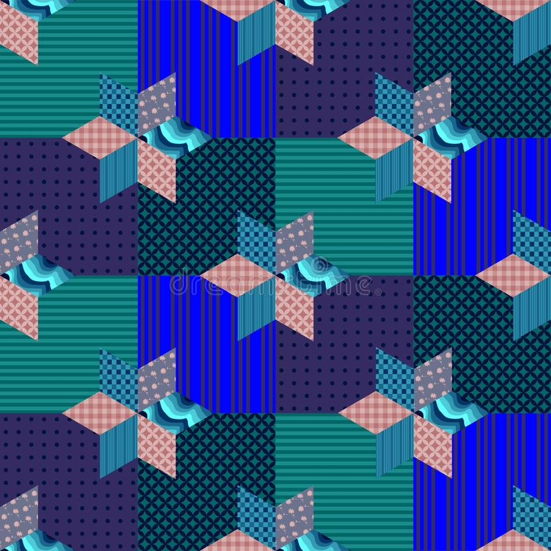Sömlös patchworkmodell med stjärnor på fyrkanter vektor illustrationer