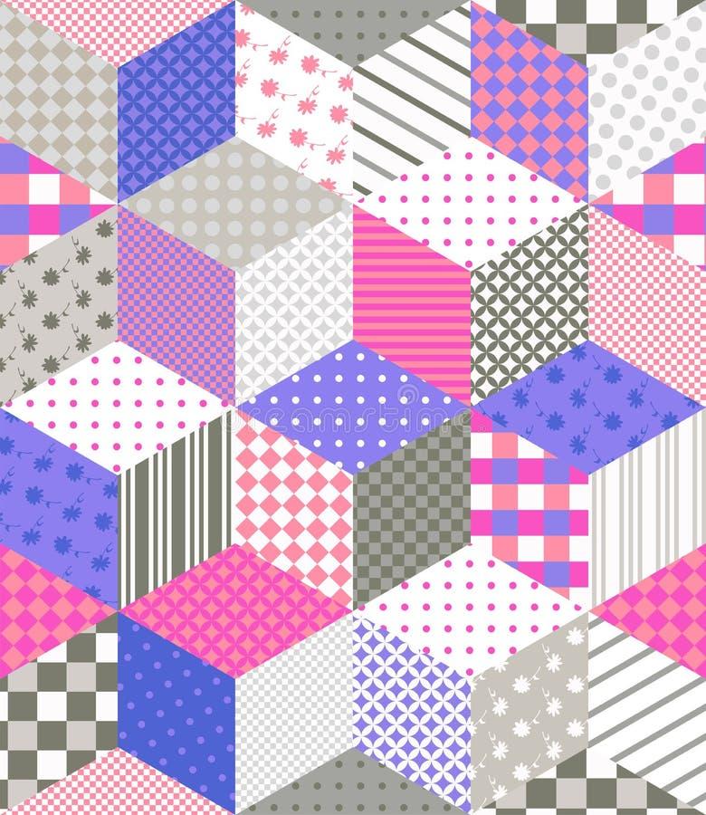 Sömlös patchworkmodell Vaddera design med stjärnor från olika lappar vektor illustrationer
