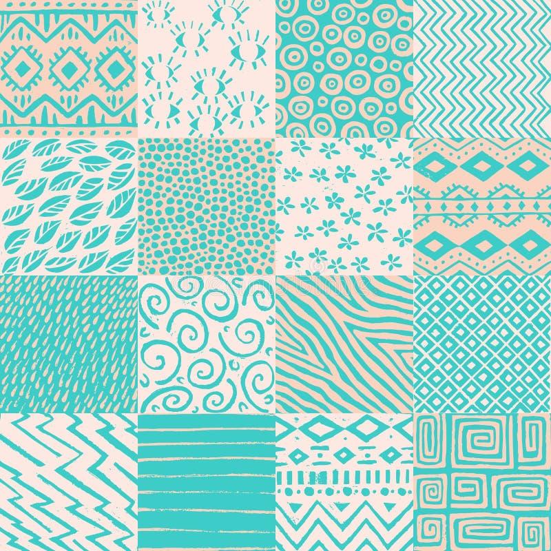 Sömlös patchworkmodell Vit, mintkaramell och beigafärger Vintag royaltyfri illustrationer