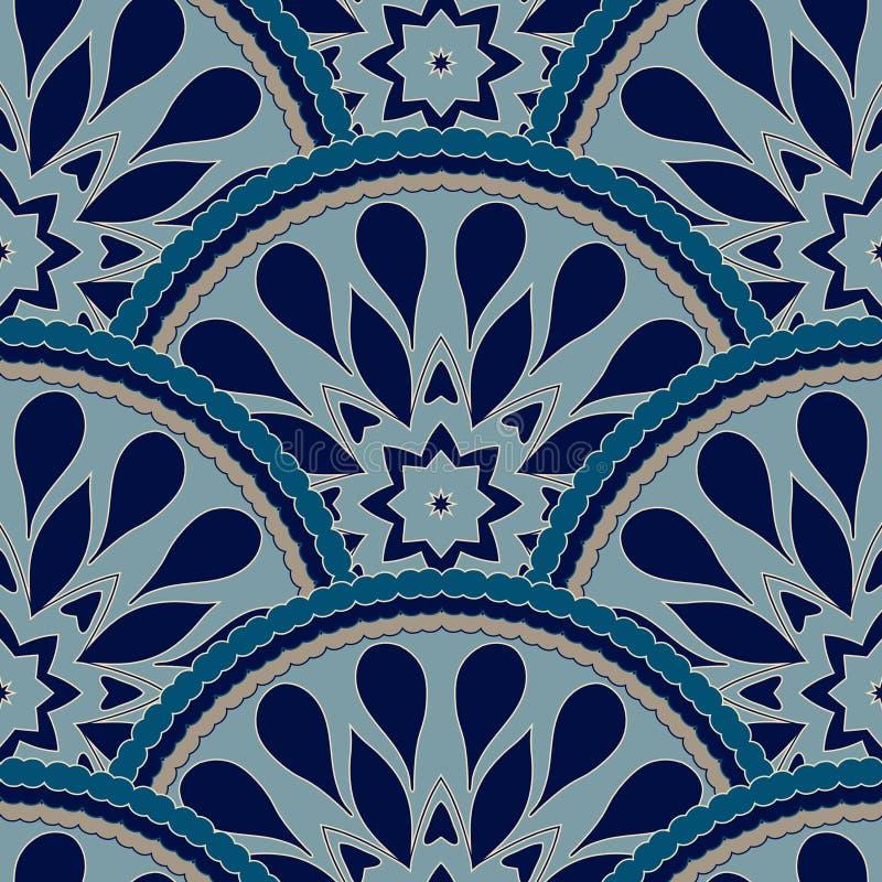 Sömlös patchworkmodellram av moderiktiga kulöra blom- blommategelplattacirklar För tapetyttersidatexturer tyg royaltyfri illustrationer