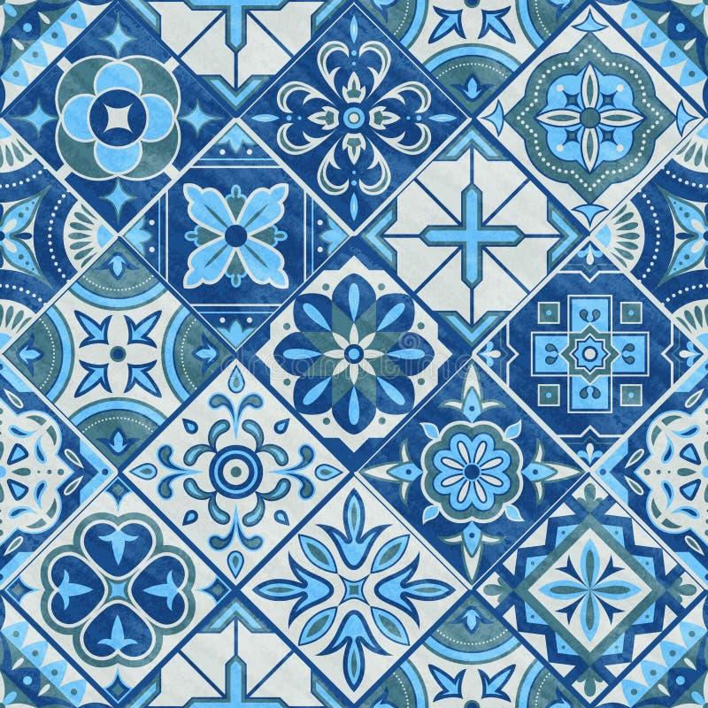 Sömlös patchworktegelplatta i blåa, gråa och gröna färger Illustration för vektor för keramiska tegelplattor för tappning Sömlös  royaltyfri illustrationer