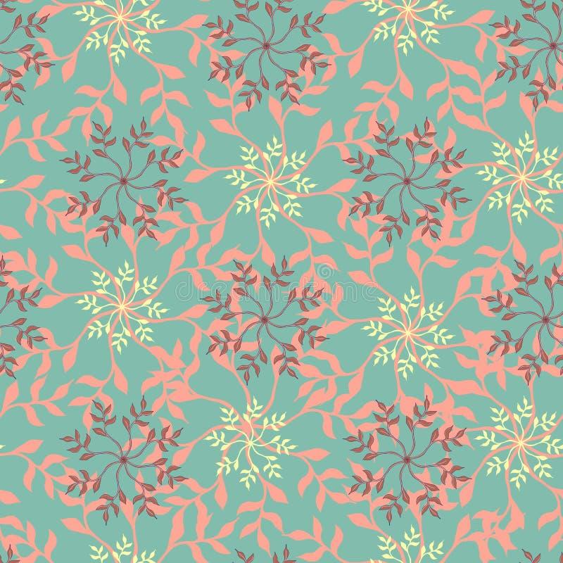 Sömlös patern Gröna lövdesnamn på röd bakgrund Upprepande ornament för textilplattor royaltyfri illustrationer