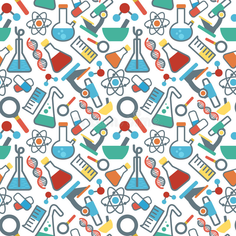 Sömlös pattrnvetenskap stock illustrationer