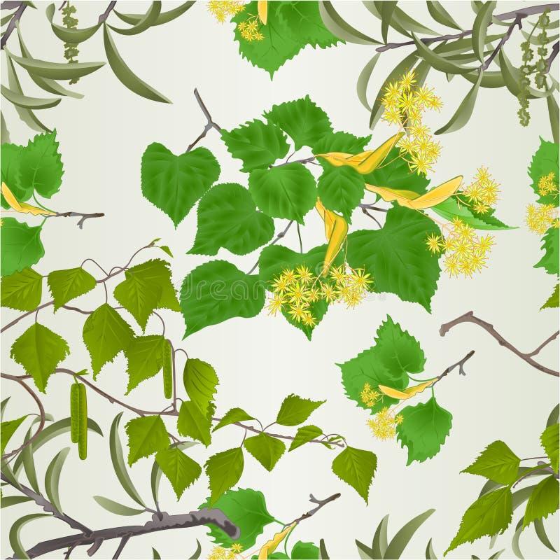 Sömlös pil för texturfiliallind med hängear och edita för illustration för vektor för tappning för bakgrund för naturlig vår för  royaltyfri illustrationer