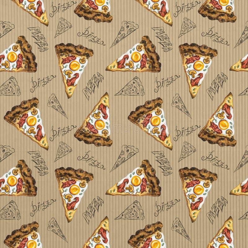 Sömlös pizza för modellvattenfärgcarbonara på papp royaltyfri illustrationer