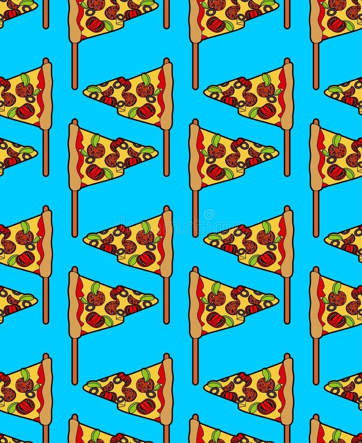 Sömlös pizzaflaggamodell Baner för pizzeria eller restaurangbakgrund bakgrund cirklar den orange prydnadfyrkantvektorn royaltyfri illustrationer