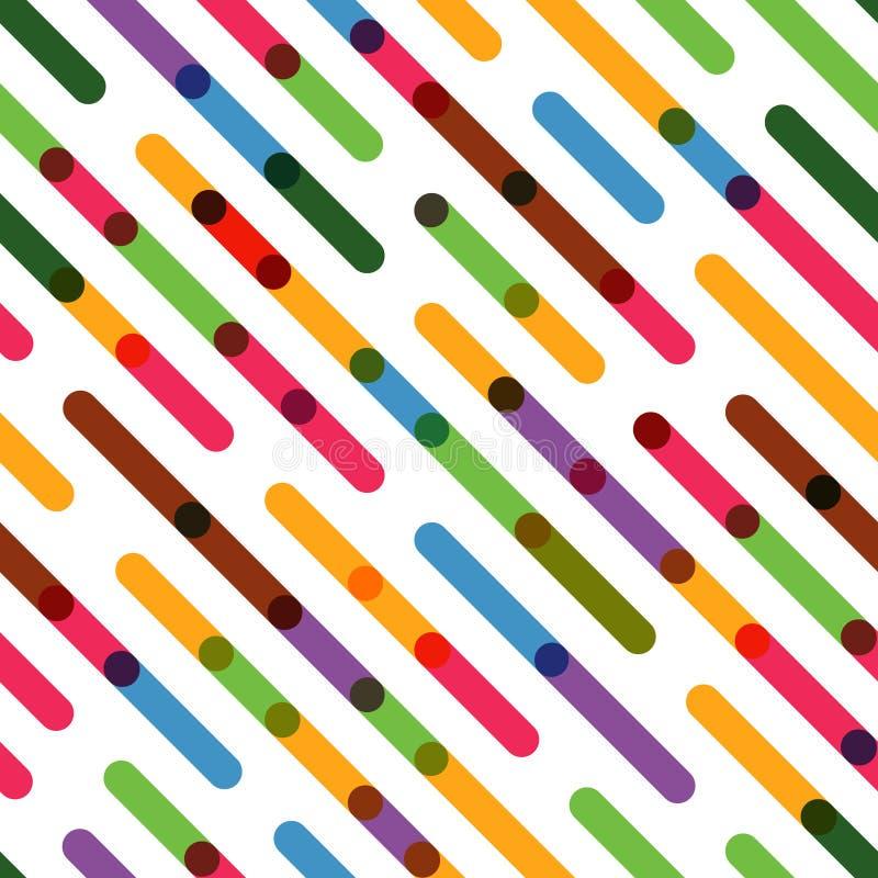Sömlös plan bakgrund med färgrika diagonala linjer stock illustrationer