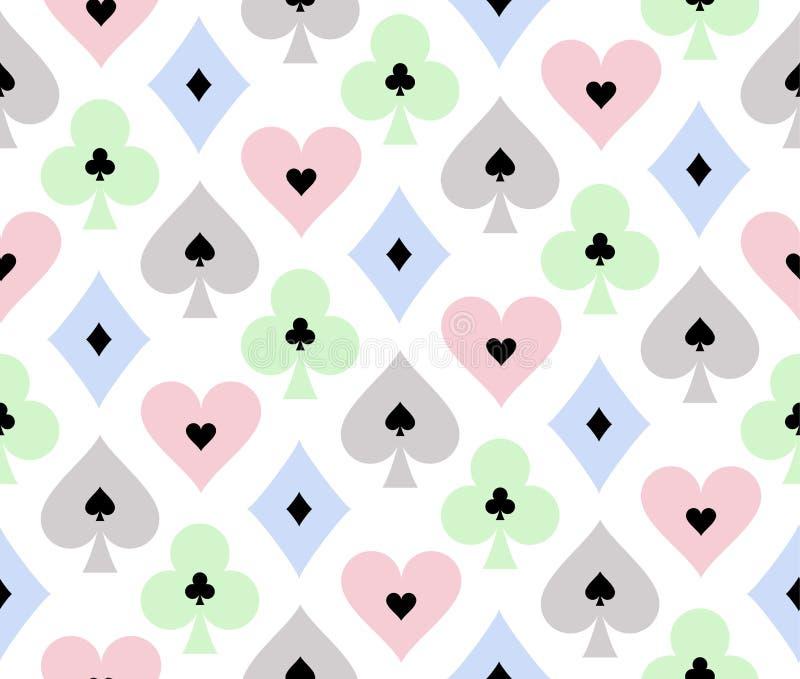 Sömlös pokerbakgrund med genomskinlig effekt vektor illustrationer