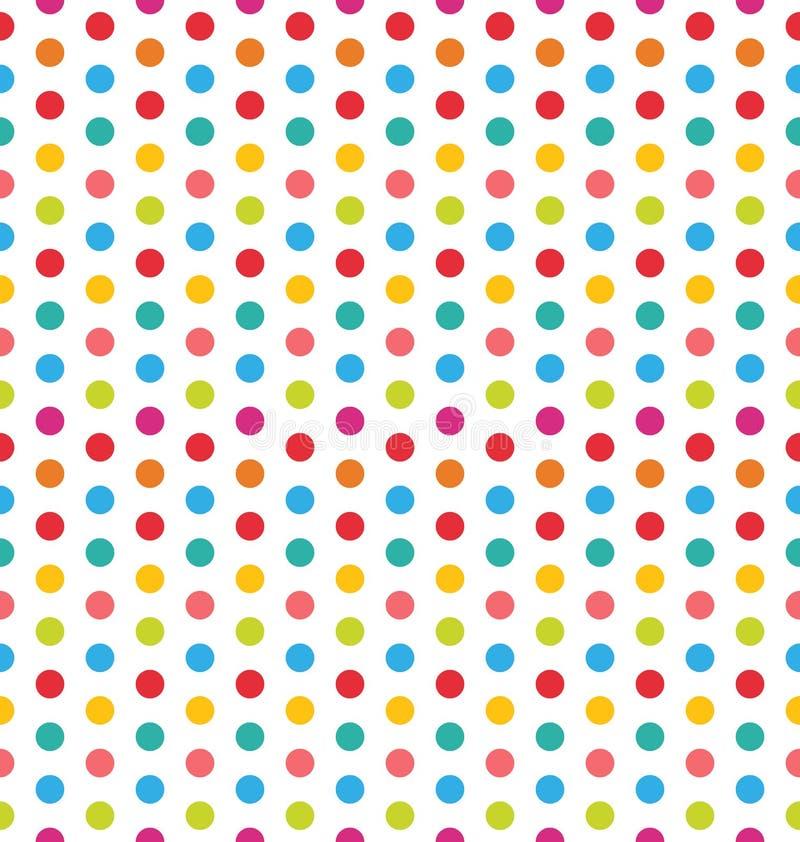 Sömlös polka Dot Background, färgrik modell för textil stock illustrationer