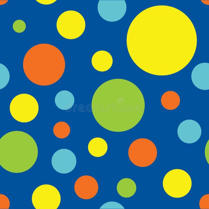 Sömlös polka Dot Pattern Background i blått, turkos, limefruktgräsplan, guling och apelsin royaltyfri illustrationer