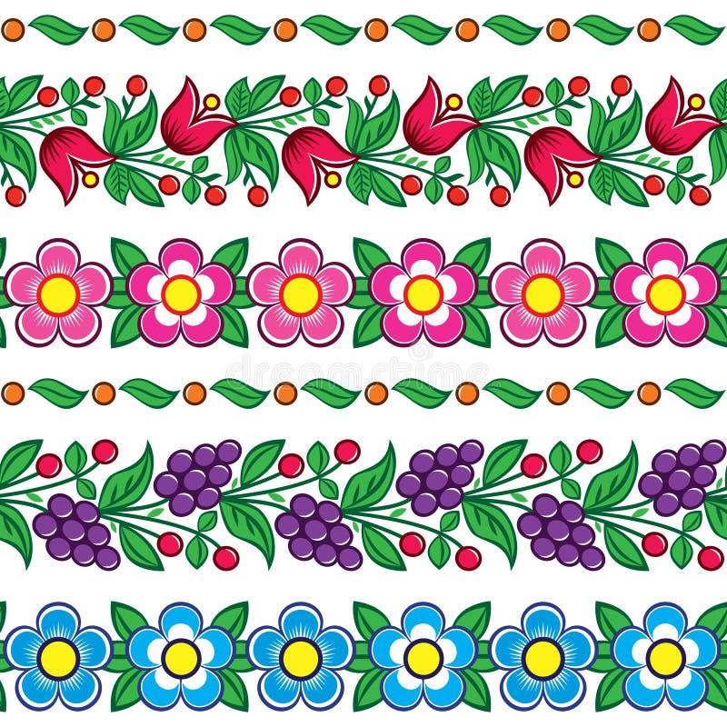 Sömlös polsk folkkonstvektormodell - Zalipie traditionell design med blommor och sidor stock illustrationer
