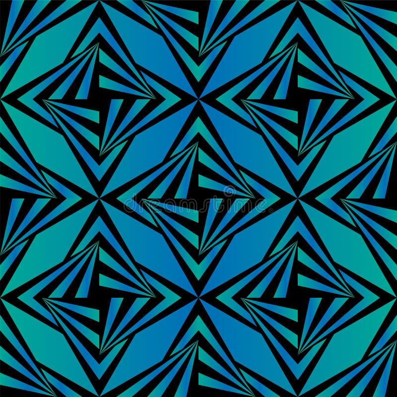 Sömlös Polygonal blått- och svartmodell geometrisk abstrakt bakgrund royaltyfri illustrationer